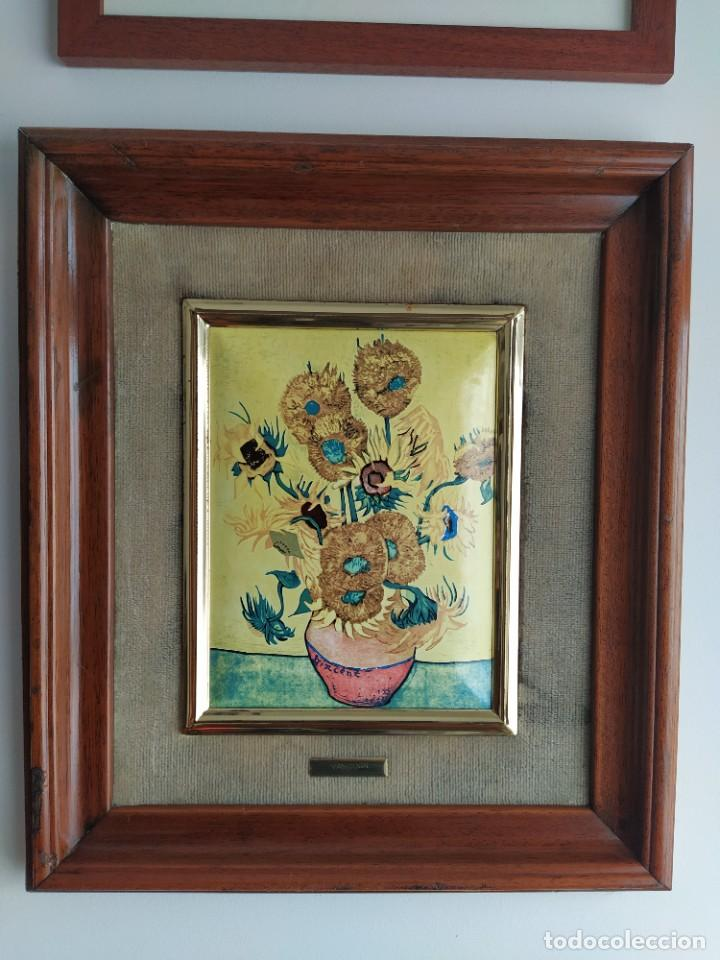 Varios objetos de Arte: CUADRO ESMALTADO VAN GOGH / LOS GIRASOLES. MARCO DE MADERA MIDE 39 CM x 44,5 CM - Foto 18 - 254003055