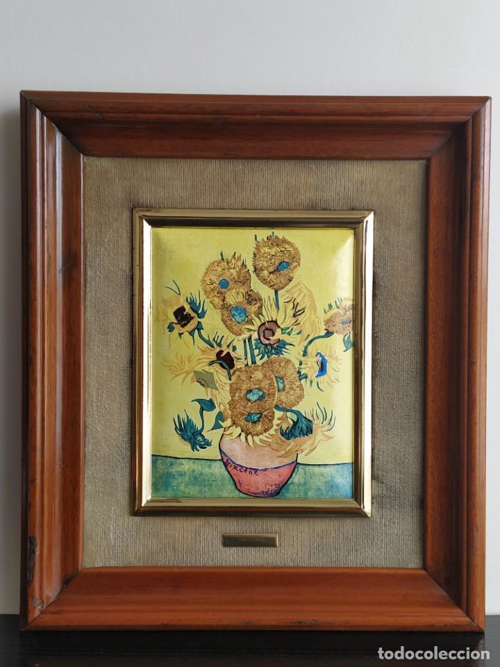 Varios objetos de Arte: CUADRO ESMALTADO VAN GOGH / LOS GIRASOLES. MARCO DE MADERA MIDE 39 CM x 44,5 CM - Foto 19 - 254003055