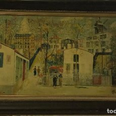 Varios objetos de Arte: ANTIGUA COPIA CUADRO DEL PINTOR FRANCES MAURICE UTRILLO. Lote 254505605