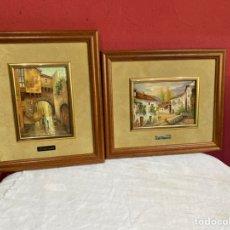 Varios objetos de Arte: PAREJA DE CUADROS P.ESMALTE . MUY BONITOS VER LAS IMÁGENES. Lote 255361990