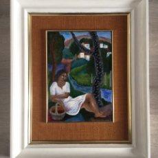 Varios objetos de Arte: MONTSERRAT MAINAR, ESMALTE, 1950'S - 1960'S, MUJER SENTADA EN EL BOSQUE, FIRMADO, CON MARCO. 28X20CM. Lote 257270570