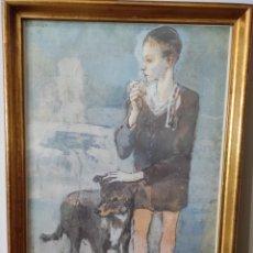 Varios objetos de Arte: PABLO PICASSO - NIÑO CON UN PERRO. CON MARCO 51X36CM. Lote 257991090