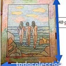 Varios objetos de Arte: MIRANDO AL MAR MEDITERRÁNEO. CUADRO BORDADO CON LANA. JULIAN SERRANO, 11-2-2004. Lote 258108335