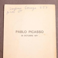 Varios objetos de Arte: PICASSO: UN PORTRAIT - 1971 - PRESENTACIÓN DEL FILM - EDWARD QUINN I ELENA PARMELIN. Lote 263628960