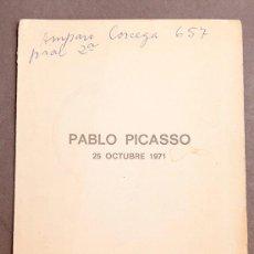 Arte: PICASSO: UN PORTRAIT - 1971 - PRESENTACIÓN DEL FILM - EDWARD QUINN I ELENA PARMELIN. Lote 263628960