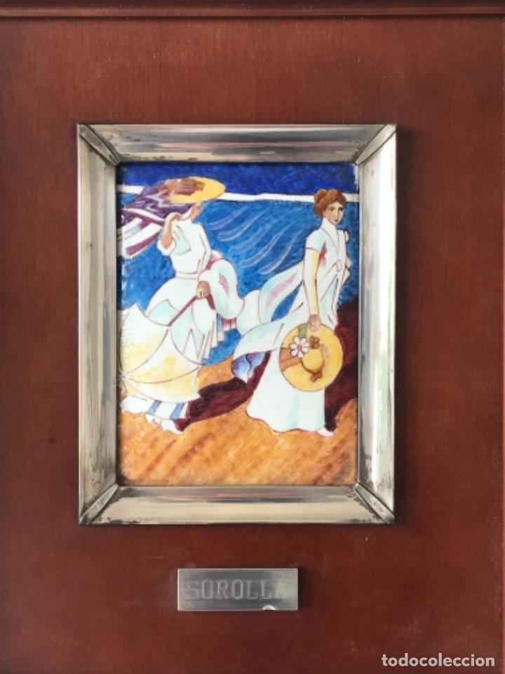CUADRO DE ESMALTE Y PLATA DE LEY Y MADERA JOAQUÍN SOROLLA. (Arte - Varios Objetos de Arte)