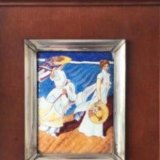 Varios objetos de Arte: CUADRO DE ESMALTE Y PLATA DE LEY Y MADERA JOAQUÍN SOROLLA.. Lote 263880935