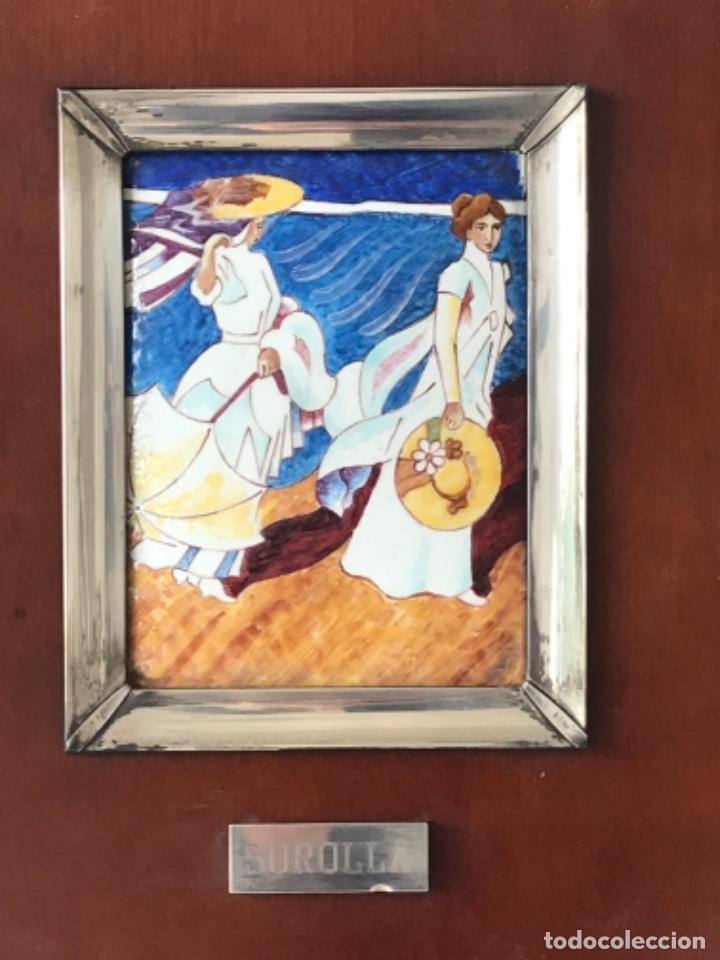 Varios objetos de Arte: CUADRO DE ESMALTE Y PLATA DE LEY Y MADERA JOAQUÍN SOROLLA. - Foto 5 - 263880935