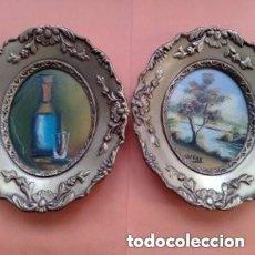 Varios objetos de Arte: PRECIOSOS 2 ANTIGUOS CUADRITOS PINTADOS A MANO, SE DESCONOCE FECHA EXACTA. Lote 264199092