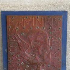 Varios objetos de Arte: PLANCHA COBRE REPUJADA SAN JUAN BAUTISTA CARACTERES LATIN CLAVOS TABLA ESTILO COCTEAU 59X50CMS. Lote 265753654