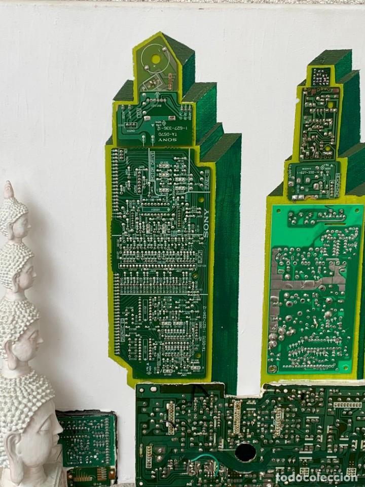 Varios objetos de Arte: OLEO CON BUDAS TAILANDIA PLACAS BASE SONY SERIE CIBERTRONIA 2008 CIUDAD RASCACIELOS 40X80CMS - Foto 14 - 265955453