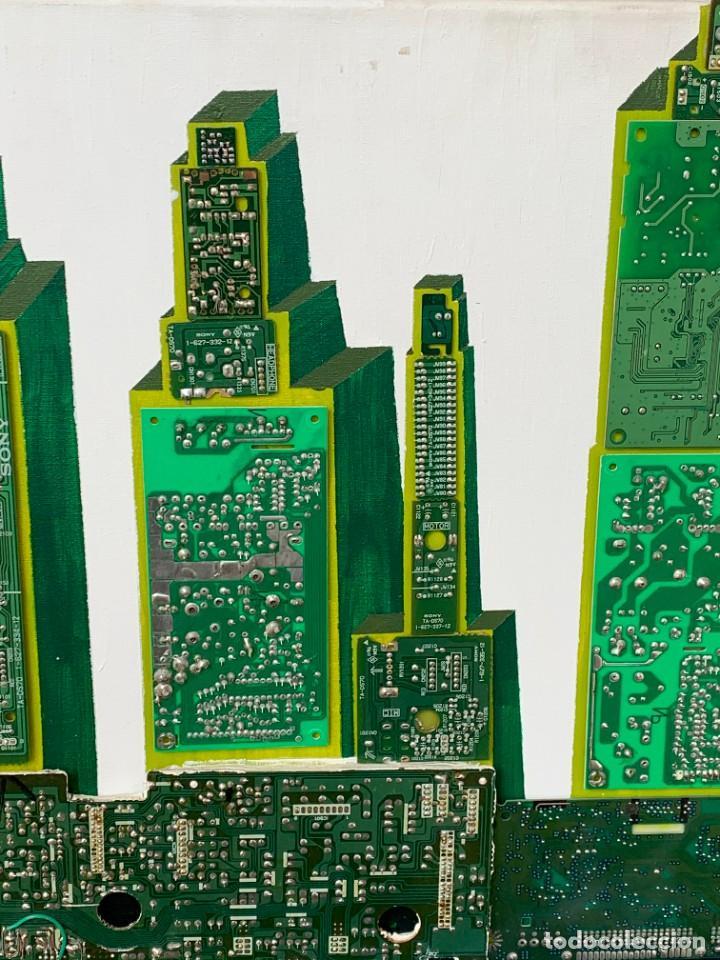 Varios objetos de Arte: OLEO CON BUDAS TAILANDIA PLACAS BASE SONY SERIE CIBERTRONIA 2008 CIUDAD RASCACIELOS 40X80CMS - Foto 15 - 265955453