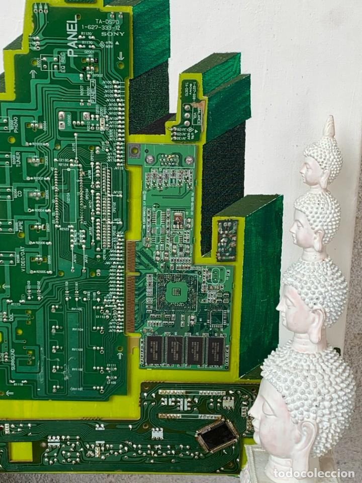 Varios objetos de Arte: OLEO CON BUDAS TAILANDIA PLACAS BASE SONY SERIE CIBERTRONIA 2008 CIUDAD RASCACIELOS 40X80CMS - Foto 16 - 265955453