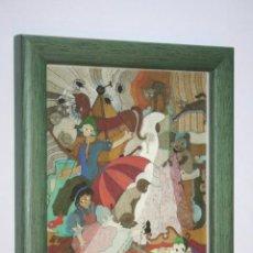 Varios objetos de Arte: CUADRO ESCENA PLURAL POLICROMADA (MARQUETERÍA TORRES - IGUALADA (BCN) -) * MEDIDAS: 15 X 12 CM. Lote 266379488