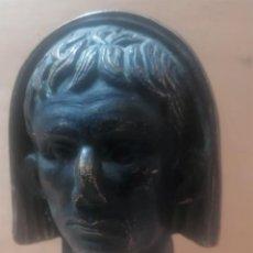 Varios objetos de Arte: ESCULTURA. CABEZA DE AUGUSTO VELADA. A. TEXEIRA. MÉRIDA. Lote 266394483