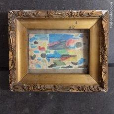 Varios objetos de Arte: PINTURA ANTIGUA ACUARELA EN CARTON ABSTRACTO FIRMADO CON INICIAL. Lote 57080768