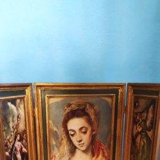 Varios objetos de Arte: CUADRO ANTIGUO PLEGABLE RELIGIOSO. Lote 268827999