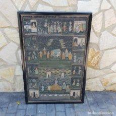 Varios objetos de Arte: TAPIZ PINTADO A MANO ENMARCADO. Lote 268830744