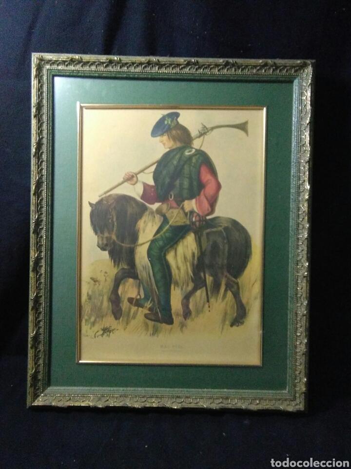 Varios objetos de Arte: Antiguo cuadro con lamina de soldado ,montado en pequeño caballito ,fiemado - Foto 2 - 269077083