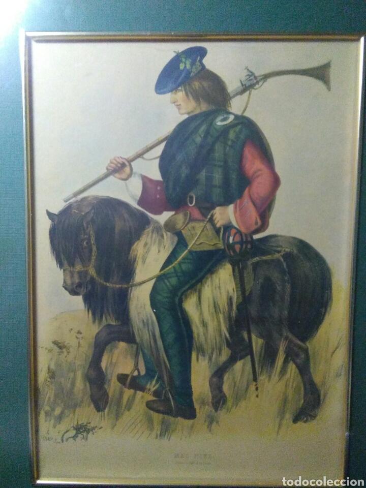 Varios objetos de Arte: Antiguo cuadro con lamina de soldado ,montado en pequeño caballito ,fiemado - Foto 3 - 269077083