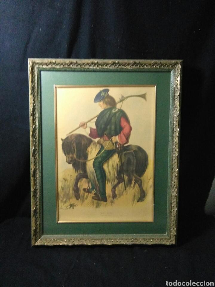 Varios objetos de Arte: Antiguo cuadro con lamina de soldado ,montado en pequeño caballito ,fiemado - Foto 7 - 269077083