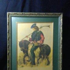 Varios objetos de Arte: ANTIGUO CUADRO CON LAMINA DE SOLDADO ,MONTADO EN PEQUEÑO CABALLITO ,FIEMADO. Lote 269077083