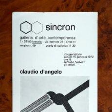 Varios objetos de Arte: CLAUDIO D´ANGELO & VINCENT PIRRUCCIO. SINCRON. BRESCIA . ITALIA. 1972. Lote 270172213