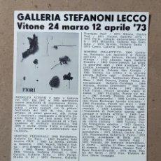 Varios objetos de Arte: RODOLFO VITONE. GALERIA STEFANONI. LECCO. ITALIA. 1973. Lote 270174513