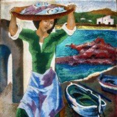 Art: MONTSERRAT MAINAR (BARCELONA, 1928-2015). ESMALTE 29 X 21 CM. FIRMADO. MARCO DE ORIGEN.. Lote 273054388