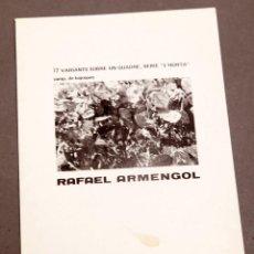 Varios objetos de Arte: RAFAEL ARMENGOL - C. 1975 - GALERÍA ADRIA - ARTE CONCEPTUAL. Lote 274797553
