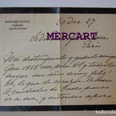 Art: IGNACIO ZULOAGA. UNA CARTA FECHADA EN 1927 EN ZUMAYA. 21 X 16,5 CM. Lote 275290053