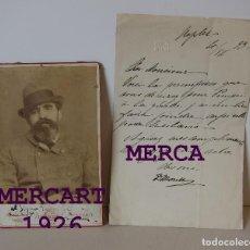 Art: DOMENICO MORELLI, PINTOR. FOTOGRAFIA Y CARTA MANUSCRITA EN FRANCES (NÁPOLES 1893). 21 X 13,5 CM. Lote 275294928