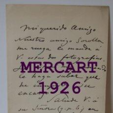 Art: FRANCISCO DOMINGO MARQUÉS (VALENCIA 1842 – MADRID). PINTOR.UNA CARTA AUTOGRAFA, 1895, 20 X 12,5 CM. Lote 275297043
