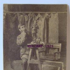 Art: VINCENZO GEMITO, FOTOGRAFIA CON SU OBRA RETRATO DE MEISSONIER, 1879. FOTOGRAFIA G. PETIT, 15,5X10. Lote 275860388