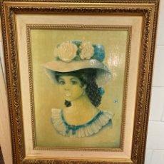 Varios objetos de Arte: CUADRO ELENA OLIVERA, ORIGINAL Y FIRMADO , MARCO DE MADERA LABRADA 56 X 46 CM. Lote 276013588