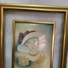 Varios objetos de Arte: CUADRO DE ELENA OLIVERA, ORIGINAL Y FIRMADO, MARCO DE METAL DORADO Y CRISTAL , 40 X 35 CM.. Lote 276014753