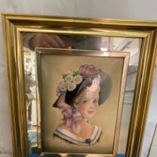 Varios objetos de Arte: CUADRO DE ELENA OLIVERA , CON MARCO DE METAL DORADO Y ESPEJO 37 X 31 CM, ORIGINAL Y FIRMADO. Lote 276015268