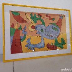 Art: CUADRO GRAN FORMATO, DISEÑO ESTILO CUBISTA, UNOS 82 X 58 CMS, ENMARCADO EN MADERA CON CRISTAL (C2). Lote 276115588