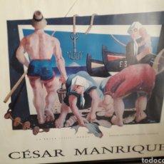 Art: CESAR MANRIQUE. LA PESCA. PARADOR NACIONAL ARRECIFE. LANZAROTE.CANARIAS. 86 CM X 73 CM. POSTER. Lote 276286263
