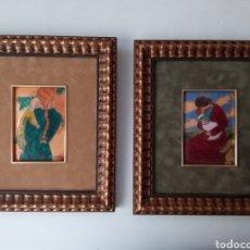 Art: ESPECTACULAR PAREJA DE CUADROS ANTIGUOS ESMALTADAS AL FUEGO MEDIDAS 31×28 TIENEN FIRMA. Lote 276288993