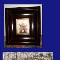 Art: ANTIGUO CUADRO CON MARCO DE MADERA Y REGALO CUADRO IBICENCO, FIRMADO. Lote 276580063