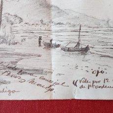 Varios objetos de Arte: CURIOSO DIBUJO ORIGINAL PAISAJE DE UN LAGO. DEDICADO . FECHADO EN 1911. W. Lote 277159993