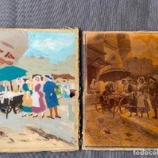 Varios objetos de Arte: LITOGRAFIA DE ALONSO PEREZ PINTADA AL REVERSO AL ÓLEO EN CRISTAL , 1900 APROX.. Lote 277561698