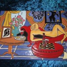 Varios objetos de Arte: AZULEJO ESMALTADO RELIEVE ODALISCA HENRI MATISSE. FIRMADO. Lote 278232423