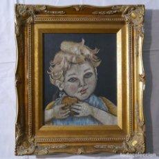 Varios objetos de Arte: CUADRO DE NIÑO MERENDANDO, BORDADO SOBRE TELA. Lote 278623523