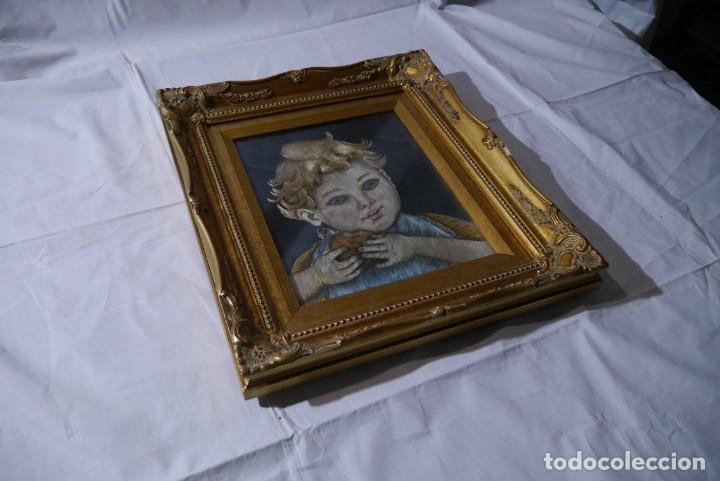 Varios objetos de Arte: Cuadro de niño merendando, bordado sobre tela - Foto 2 - 278623523