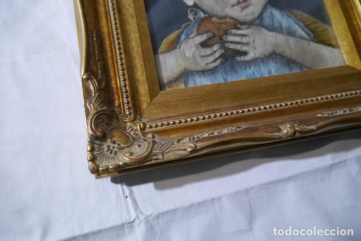 Varios objetos de Arte: Cuadro de niño merendando, bordado sobre tela - Foto 7 - 278623523