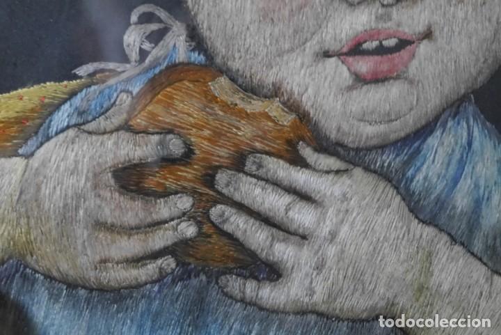 Varios objetos de Arte: Cuadro de niño merendando, bordado sobre tela - Foto 11 - 278623523