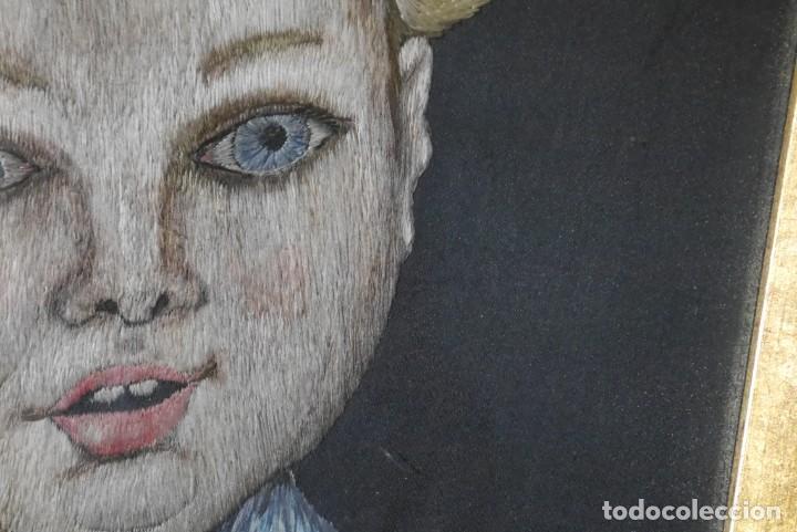 Varios objetos de Arte: Cuadro de niño merendando, bordado sobre tela - Foto 12 - 278623523