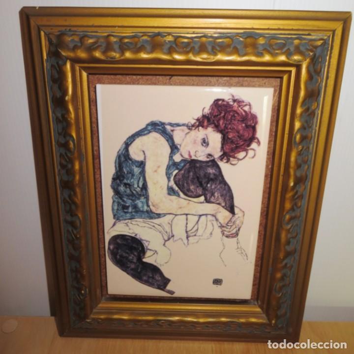 CUADRO AZULEJO EDITH, LA MUJER DEL ARTISTA EGON SCHIELE (Arte - Varios Objetos de Arte)